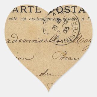 Postal del francés del vintage pegatina en forma de corazón