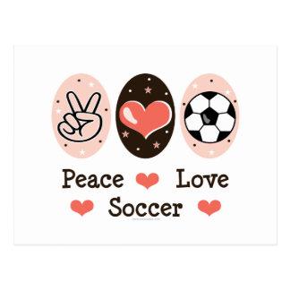 Postal del fútbol del amor de la paz