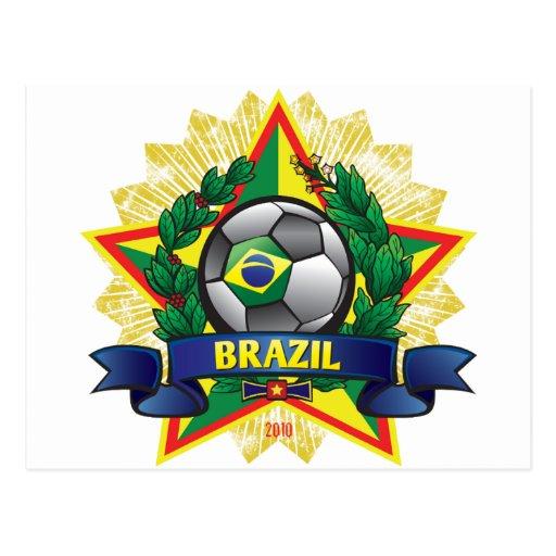 Postal del fútbol del mundial del Brasil