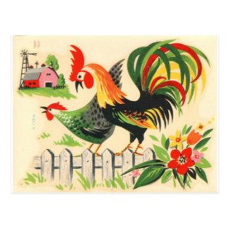 Postal del gallo del vintage