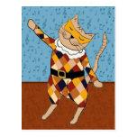 Postal del gatito del Harlequin del baile