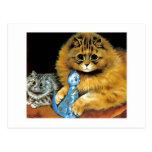 Postal del gato de la muñeca del vintage