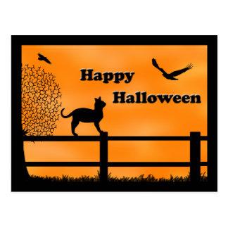 Postal del gato del feliz Halloween