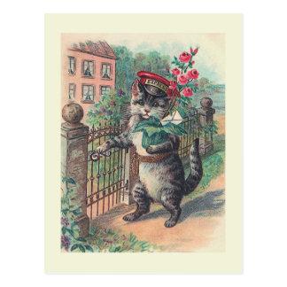 """Postal del gato del vintage """"del cartero"""""""