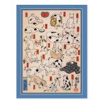 Postal del gato: Gatos de Utagawa Kuniyoshi