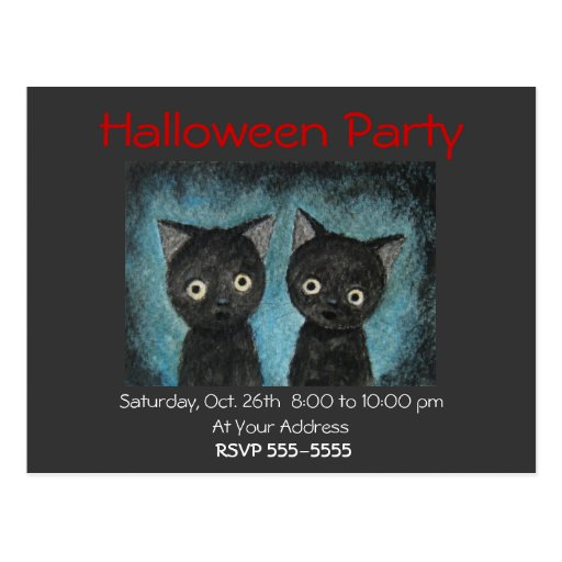 Postal del gato negro de la invitación del fiesta