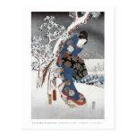 Postal del geisha de la nieve