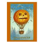 Postal del globo del aire caliente de Halloween JO