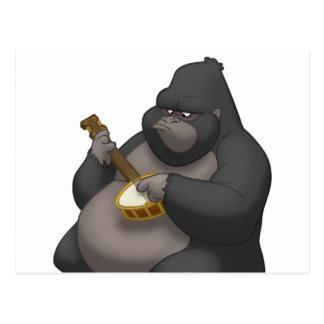 Postal del gorila del Banjo-Strummin