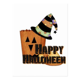postal del gorra de las brujas de Halloween