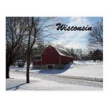 Postal del granero del invierno de Wisconsin
