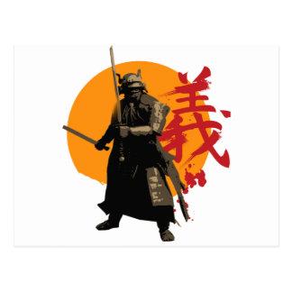 Postal del guerrero del samurai