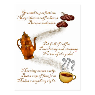 Postal del Haiku del café