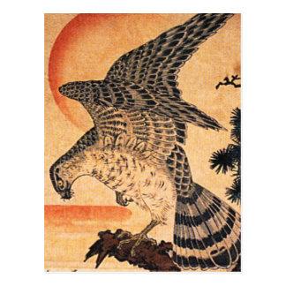 Postal del halcón de Kuniyoshi
