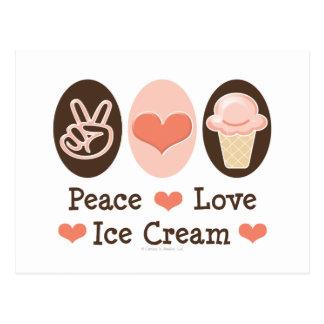 Postal del helado del amor de la paz
