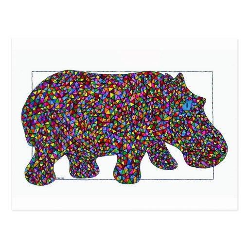 Postal del hipopótamo del vitral de Hernando