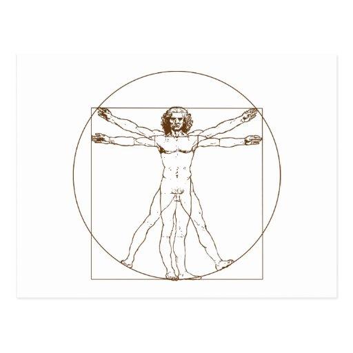 Postal del hombre de da Vinci Vitruvian