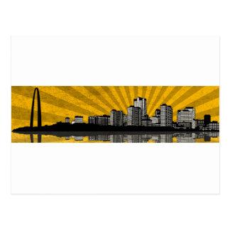 Postal del horizonte de St. Louis (amarillo)