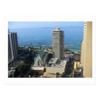 Postal del horizonte de Waikiki