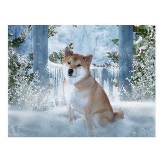 Postal del invierno de Shiba Inu