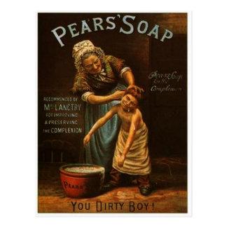 Postal del jabón de las peras del vintage