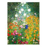 Postal del jardín de flores de Gustavo Klimt