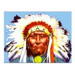 Postal del jefe del nativo americano