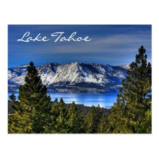 Postal del lago Tahoe Nevada de la puesta del sol