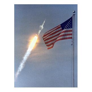 Postal del lanzamiento de Apolo 11