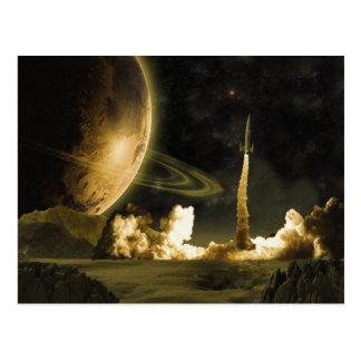 Postal del lanzamiento de Rocket del vintage