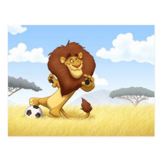 Postal del león del fútbol
