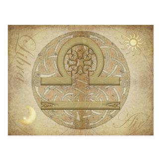 Postal del libra de la muestra del zodiaco