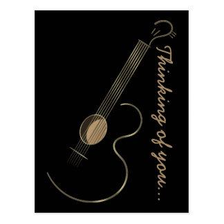 Postal del logotipo de la guitarra acústica