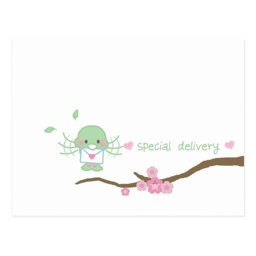 postal del lovebird de la entrega especial
