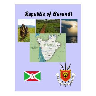 Postal del mapa de Burundi