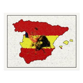 Postal del mapa de España con Bull y Matador