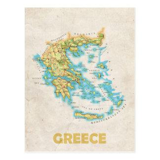 Postal del mapa de Grecia
