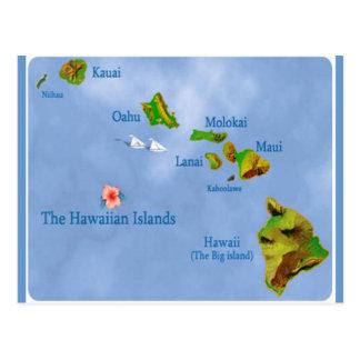 Postal del mapa de la isla hawaiana