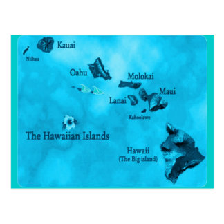 Postal del mapa de la isla hawaiana de la turquesa