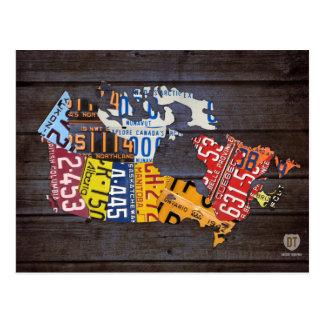 Postal del mapa de la placa de Canadá