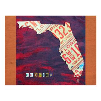 Postal del mapa de la placa de la Florida