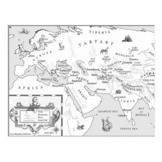 Postal del mapa de la seda y de la canción