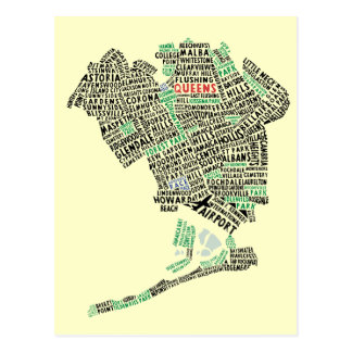 Postal del mapa de la tipografía del Queens NYC