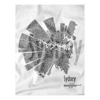 Postal del mapa de Sydney
