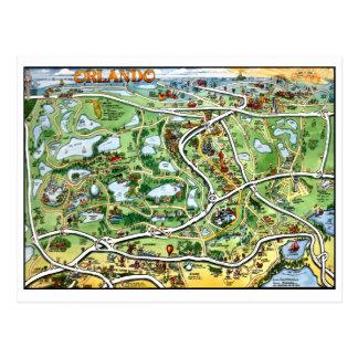 Postal del mapa del dibujo animado de Orlando la F