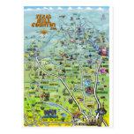 Postal del mapa del dibujo animado del país de la