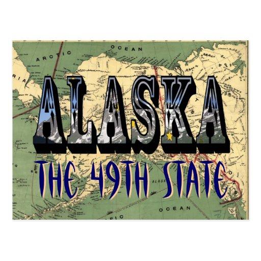 Postal del mapa del estado de Alaska 1897