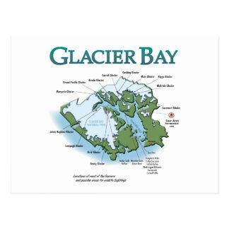 Postal del mapa del Glacier Bay