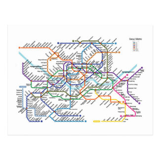 Postal del mapa del metro de Seul