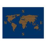 Postal del mapa del mundo de la cartulina